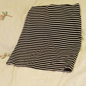 Black and white striped pull on skirt